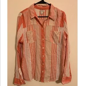 Lucky brand coral white striped button up